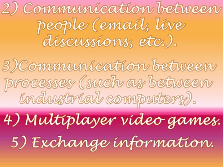 2) Communication between people (email, live discussions, etc.).