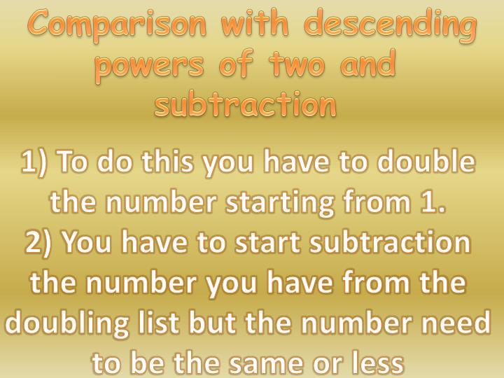 Comparison with descending powers of two and subtraction