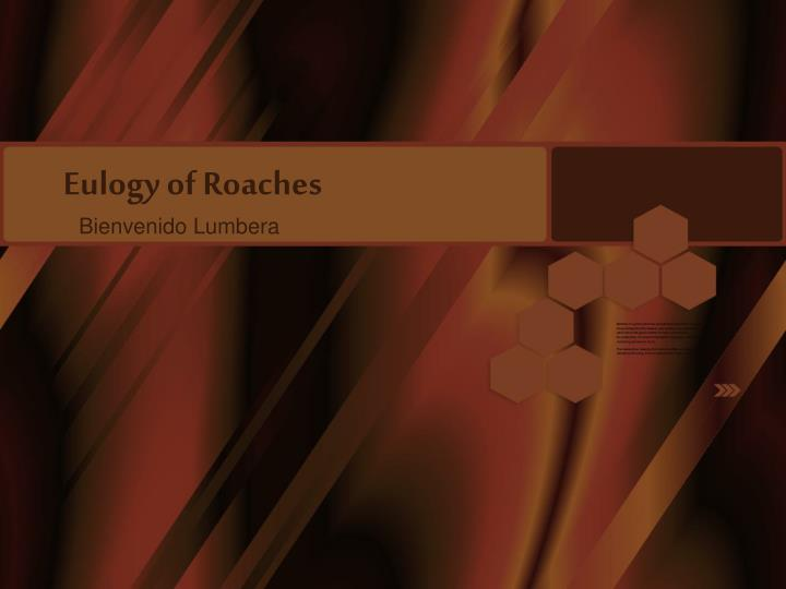 Eulogy of roaches