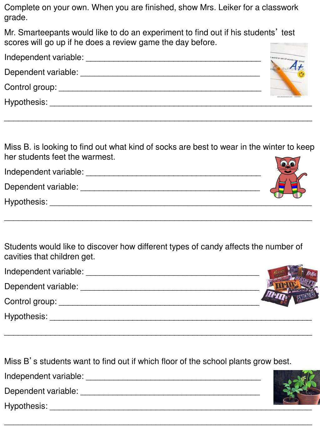 PPT - Name Date ______ Parts of an experiment worksheet ...