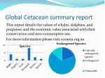 global cetacean summary report