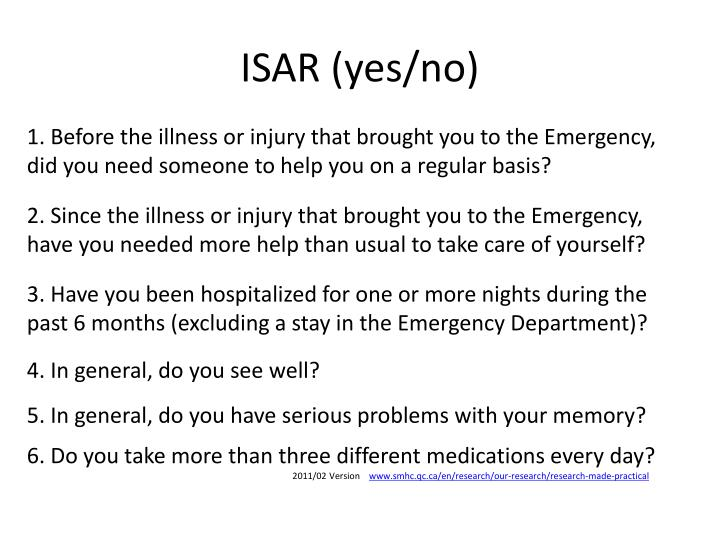 ISAR (yes/no)