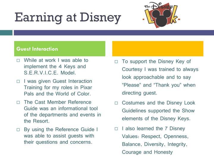 Earning at Disney