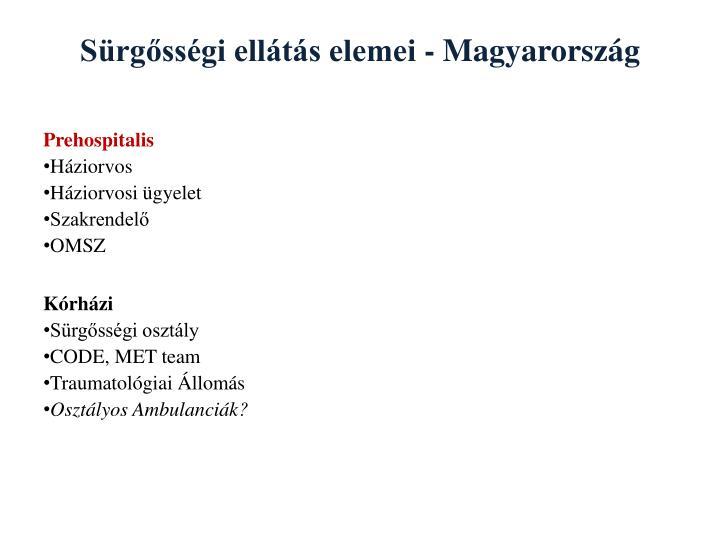 Sürgősségi ellátás elemei - Magyarország