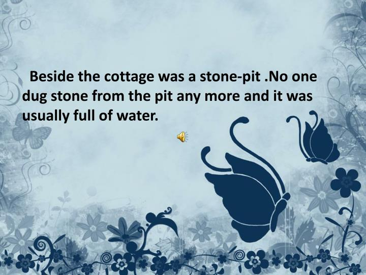 Beside the cottage was a stone-pit .No one dug stone from the pit any more and it was usually full of water.