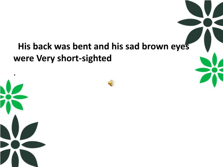His back was bent and his sad brown eyes were Very short-sighted