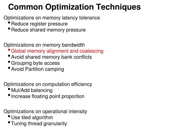 Common Optimization Techniques