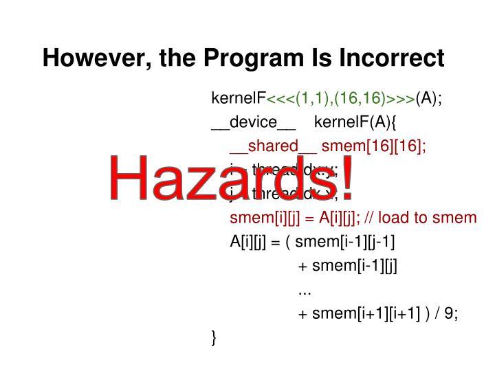 However, the Program Is Incorrect