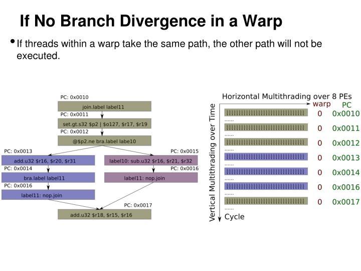 If No Branch Divergence in a Warp