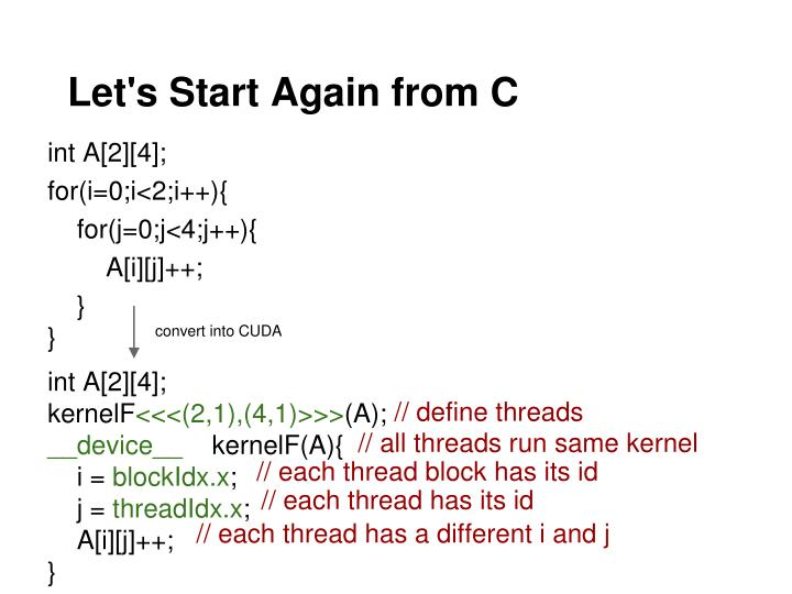 Let's Start Again from C
