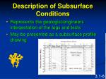 description of subsurface conditions