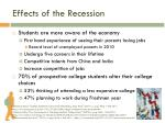 effects of the recession
