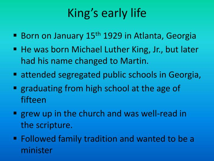 the early life of martin luther king jr ดูวิดีโอ martin luther king jr led the us civil rights movement  early years born as michael king jr on  martin luther king jr's life had a seismic impact on.