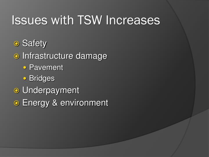 Issues with TSW Increases