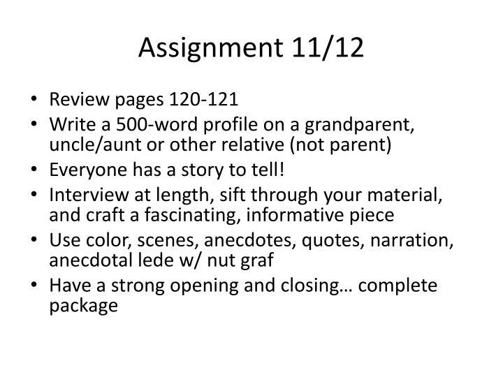 Assignment 11/12