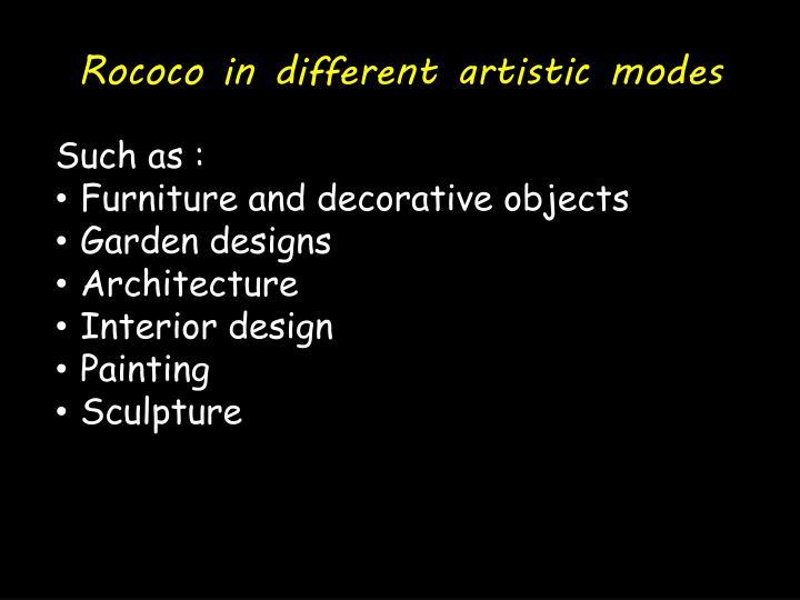 Rococo in different artistic modes