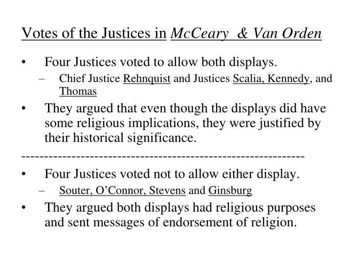 Votes of the Justices in