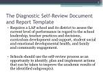 the diagnostic self review document and report template