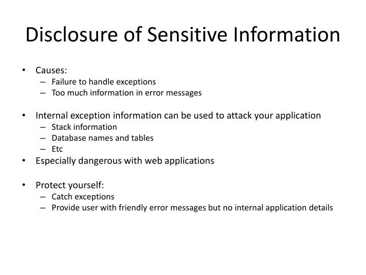 Disclosure of Sensitive Information