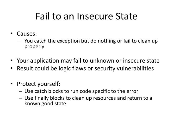 Fail to an Insecure State