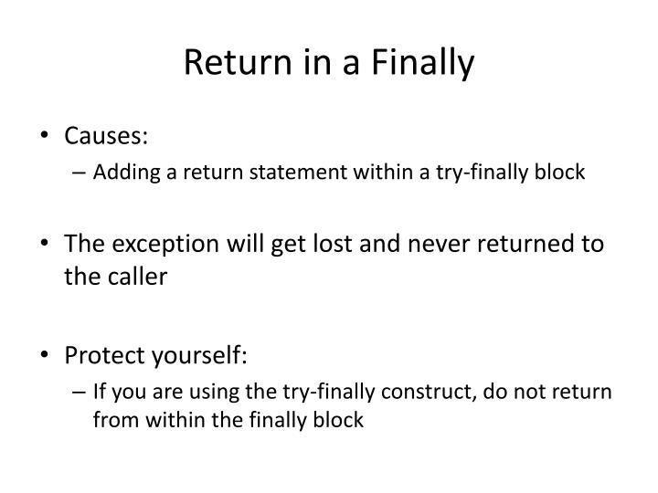 Return in a Finally