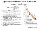 equilibrium constants from particles model predictions