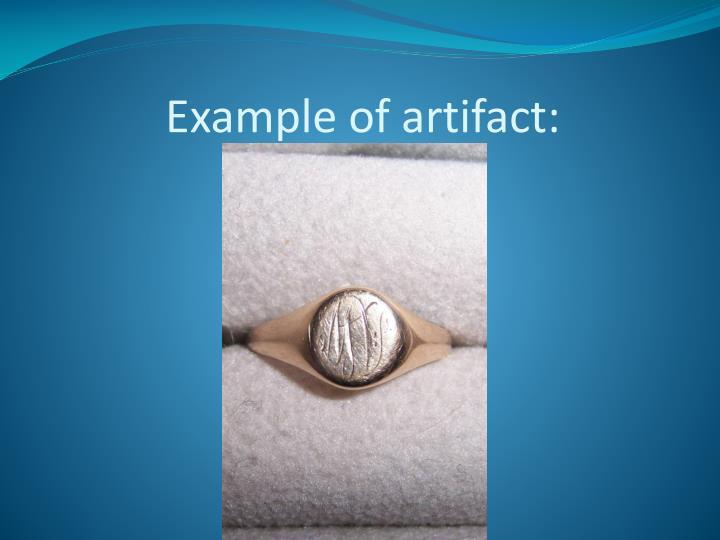 Example of artifact: