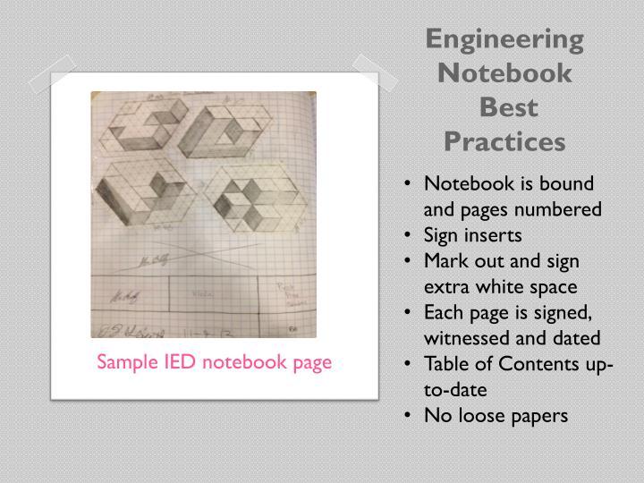 Engineering notebook best practices