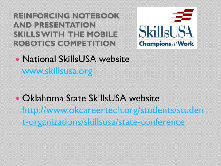 Reinforcing notebook and presentation skills with  The Mobile robotics Competition