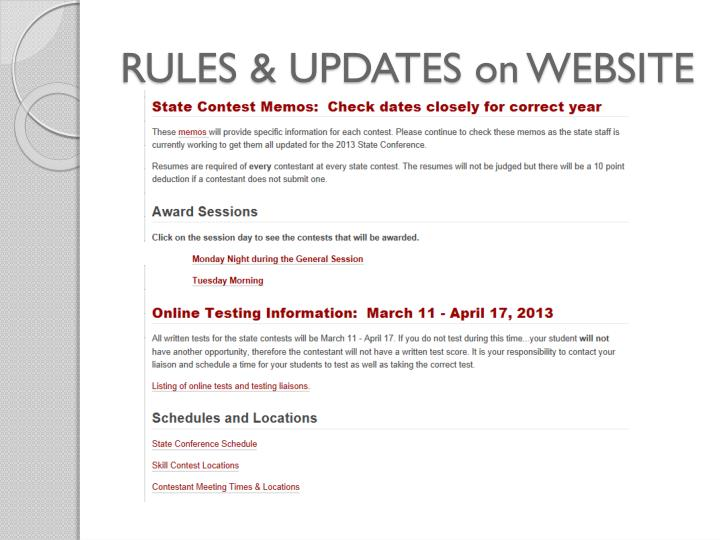RULES & UPDATES on WEBSITE