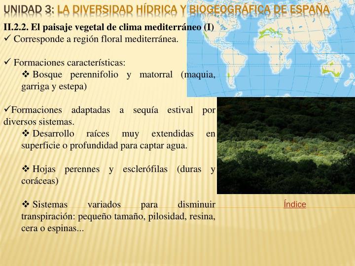 II.2.2. El paisaje vegetal de clima mediterráneo (I)