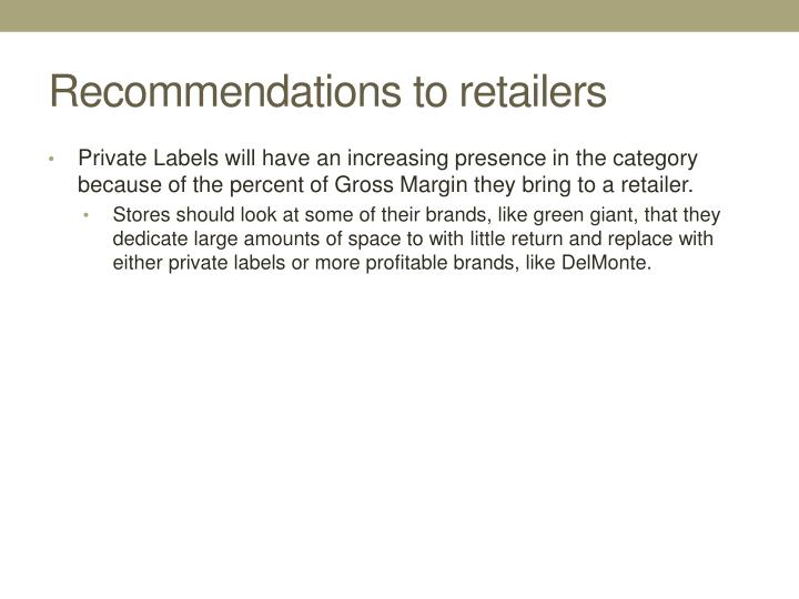 Recommendations to retailers