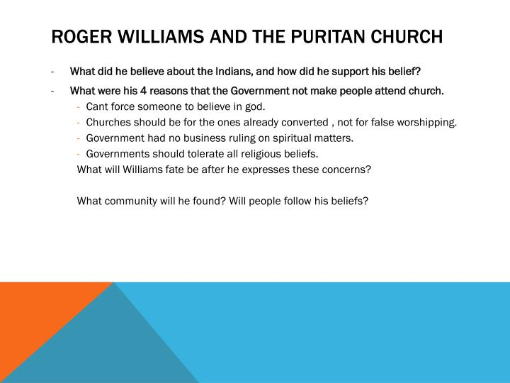 Roger williams and the puritan church
