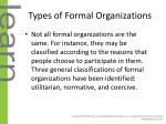 types of formal organizations
