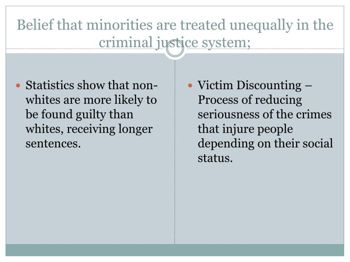 Belief that minorities are treated unequally in the criminal justice system;