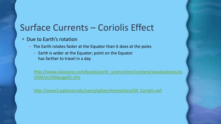 Surface Currents –