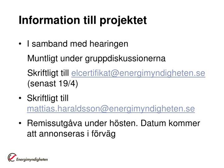 Information till projektet
