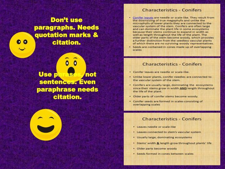 Don't use paragraphs. Needs quotation marks & citation.