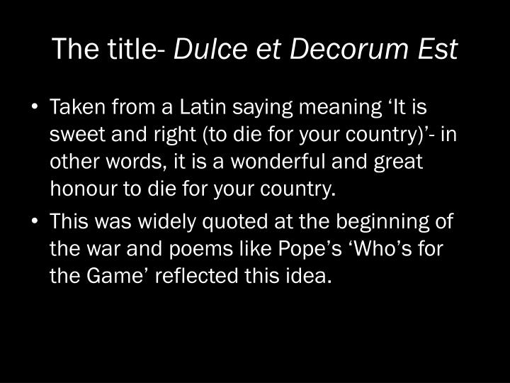 what is the meaning of dulce et decorum est