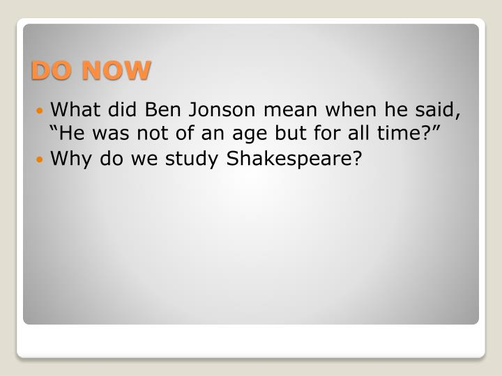 why do we study shakespeare