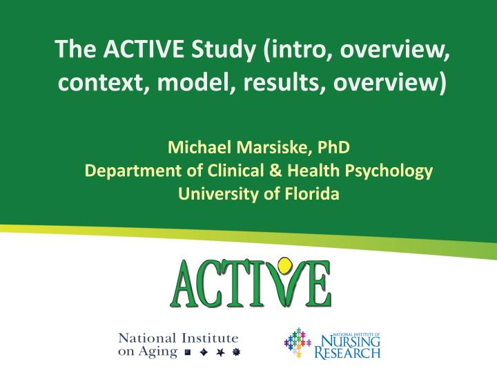 the active study intro overview context model results overview n.