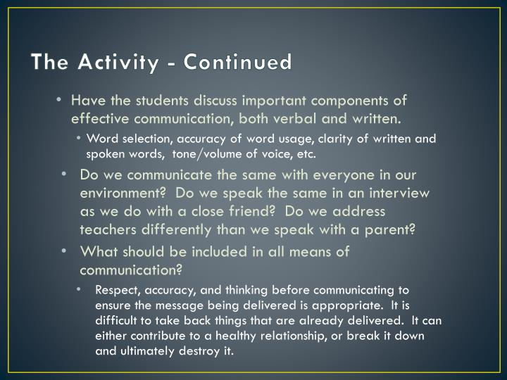 The Activity - Continued
