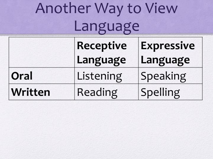 Another Way to View Language