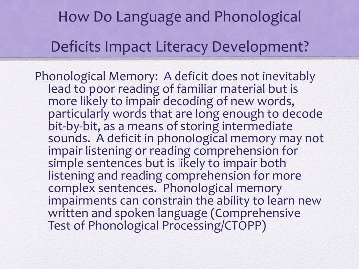 How Do Language and Phonological Deficits Impact Literacy Development?