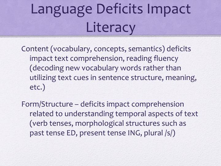 Language Deficits Impact Literacy
