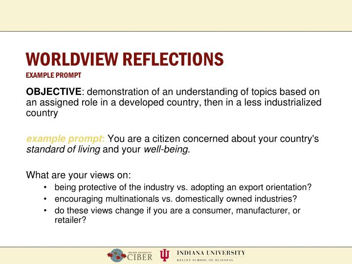 WORLDVIEW REFLECTIONS