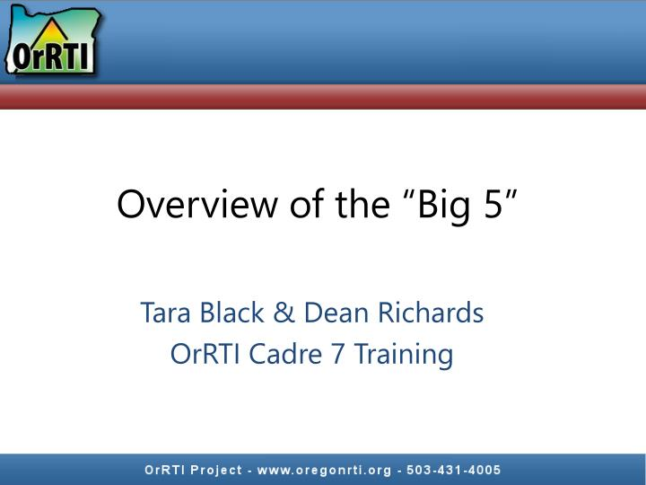 """Overview of the """"Big 5"""""""