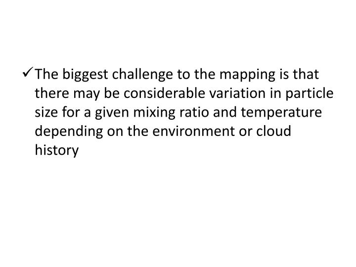 The biggest challenge to the mapping is that there may be considerable variation in particle size for a given mixing ratio and temperature depending on the environment or cloud history