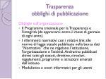 trasparenza obblighi di pubblicazione