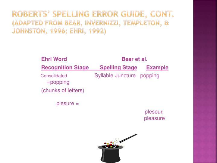 Roberts' Spelling Error Guide, cont.